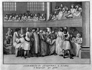 Assembly of Quakers, London. Engraving.