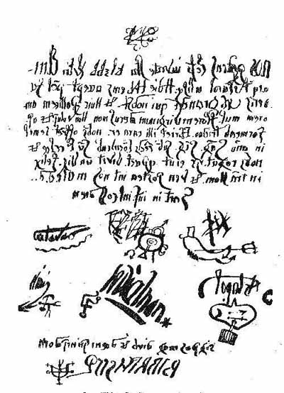 Evidence against Grandier at trial, 1634. A signed, diabolical pact written backwards.
